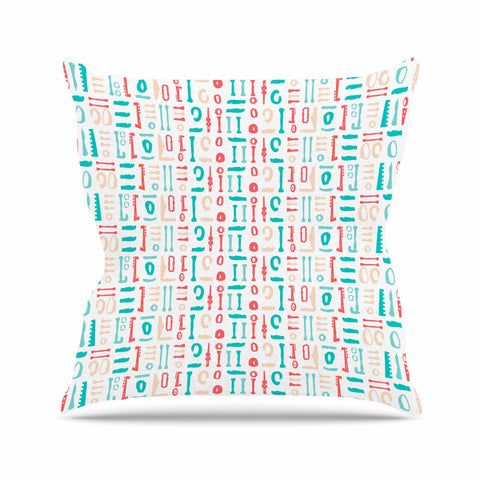 "afe images ""Abstract Pattern"" Coral Blue Illustration Outdoor Throw Pillow"