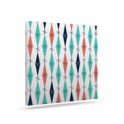"Afe Images ""Rhombus Pattern"" Teal Blue Illustration Art Canvas"