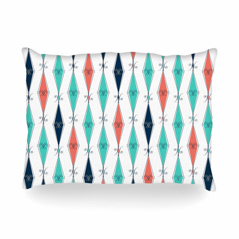 "Afe Images ""Rhombus Pattern"" Teal Blue Illustration Oblong Pillow"