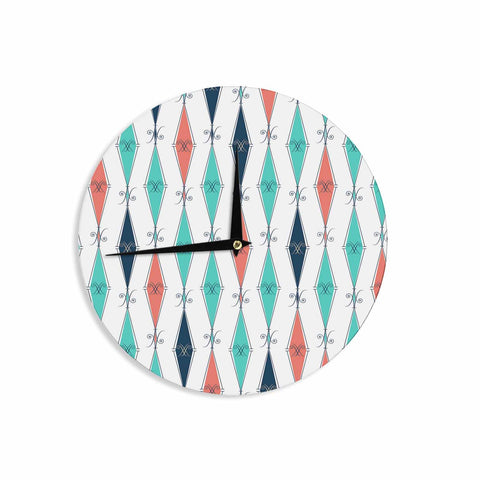 "Afe Images ""Rhombus Pattern"" Teal Blue Illustration Wall Clock"