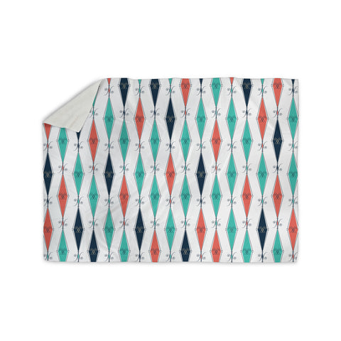 "Afe Images ""Rhombus Pattern"" Teal Blue Illustration Sherpa Blanket"