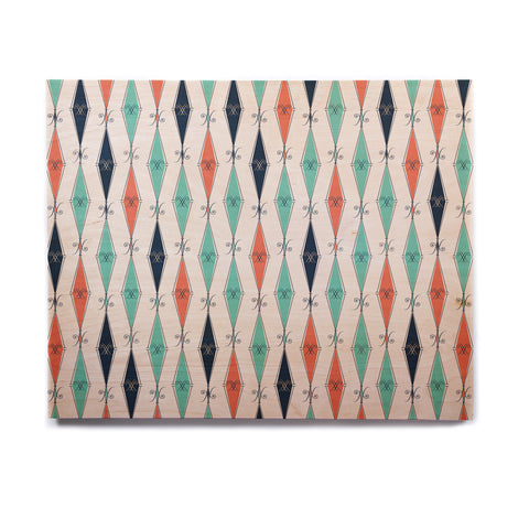 "Afe Images ""Rhombus Pattern"" Teal Blue Illustration Birchwood Wall Art"