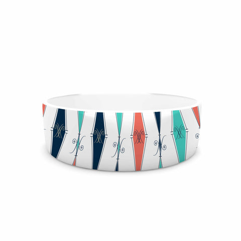 "Afe Images ""Rhombus Pattern"" Teal Blue Illustration Pet Bowl"
