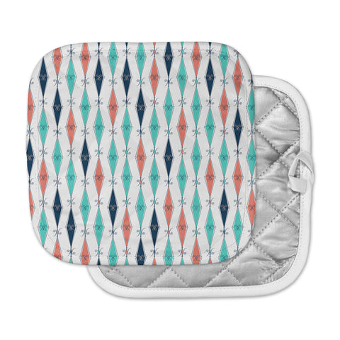 "Afe Images ""Rhombus Pattern"" Teal Blue Illustration Pot Holder"