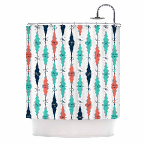 "Afe Images ""Rhombus Pattern"" Teal Blue Illustration Shower Curtain"