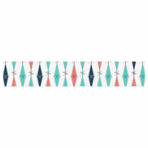 "Afe Images ""Rhombus Pattern"" Teal Blue Illustration Table Runner"