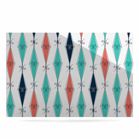"Afe Images ""Rhombus Pattern"" Teal Blue Illustration Luxe Rectangle Panel"