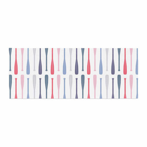 "Afe Images ""Canoe Paddles"" Multicolor Digital Illustration Bed Runner"