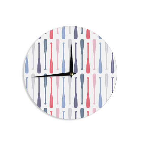 "Afe Images ""Canoe Paddles"" Multicolor Digital Illustration Wall Clock"