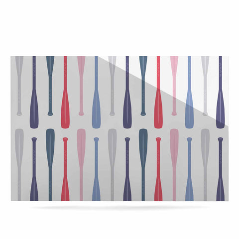 "Afe Images ""Canoe Paddles"" Multicolor Digital Illustration Luxe Rectangle Panel"
