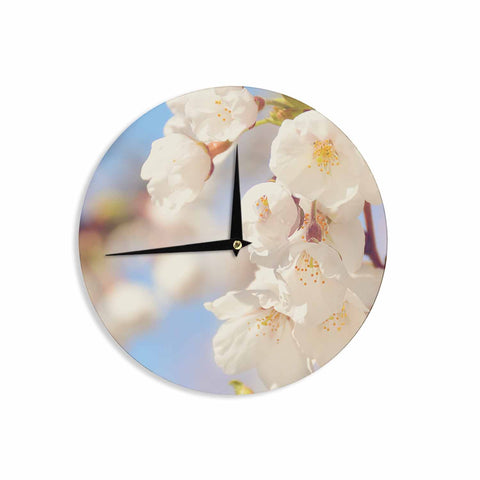 "AFE Images ""Cherry Blossoms"" Multicolor Blue Photography Wall Clock"