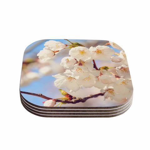 "AFE Images ""Cherry Blossoms"" Multicolor Blue Photography Coasters (Set of 4)"
