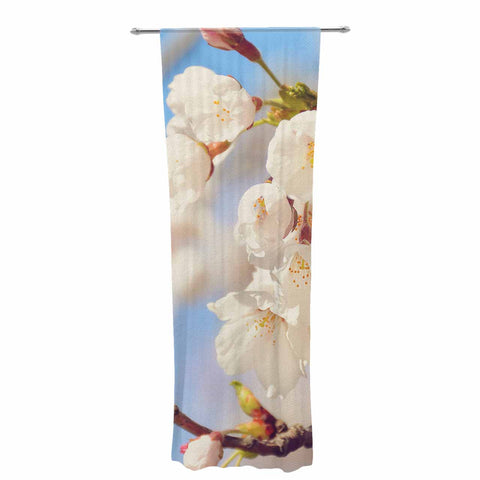 "AFE Images ""Cherry Blossoms"" Multicolor Blue Photography Decorative Sheer Curtain"
