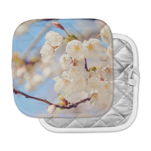 "AFE Images ""Cherry Blossoms"" Multicolor Blue Photography Pot Holder"