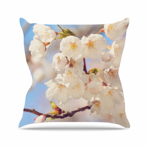 "AFE Images ""Cherry Blossoms"" Multicolor Blue Photography Outdoor Throw Pillow"