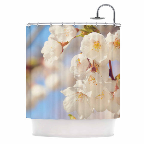 "AFE Images ""Cherry Blossoms"" Multicolor Blue Photography Shower Curtain"
