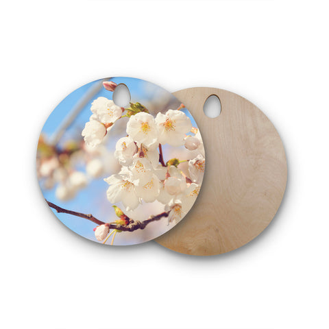 "AFE Images ""Cherry Blossoms"" Multicolor Blue Photography Round Wooden Cutting Board"
