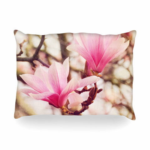 "AFE Images ""Magnolias"" Pink Brown Photography Oblong Pillow"