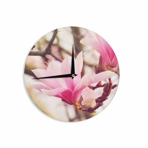 "AFE Images ""Magnolias"" Pink Brown Photography Wall Clock"