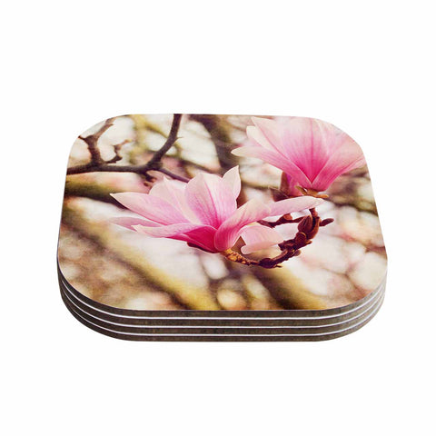 "AFE Images ""Magnolias"" Pink Brown Photography Coasters (Set of 4)"