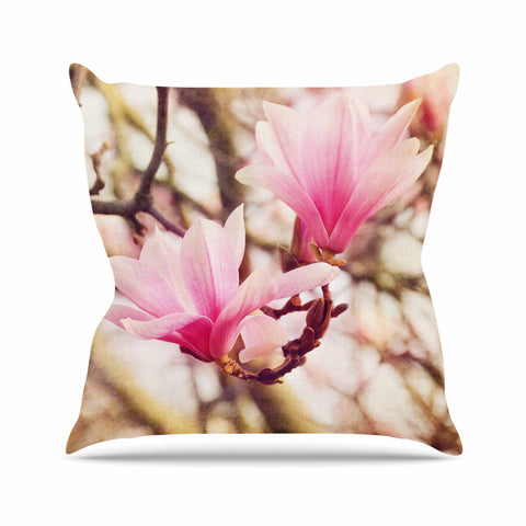 "AFE Images ""Magnolias"" Pink Brown Photography Outdoor Throw Pillow"