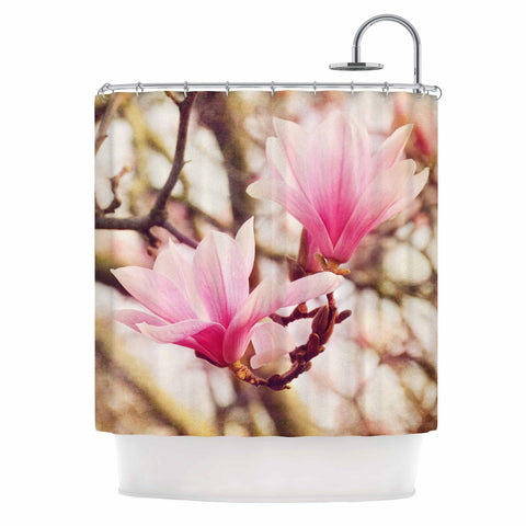 "AFE Images ""Magnolias"" Pink Brown Photography Shower Curtain"