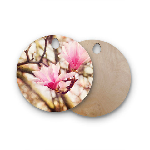 "AFE Images ""Magnolias"" Pink Brown Photography Round Wooden Cutting Board"