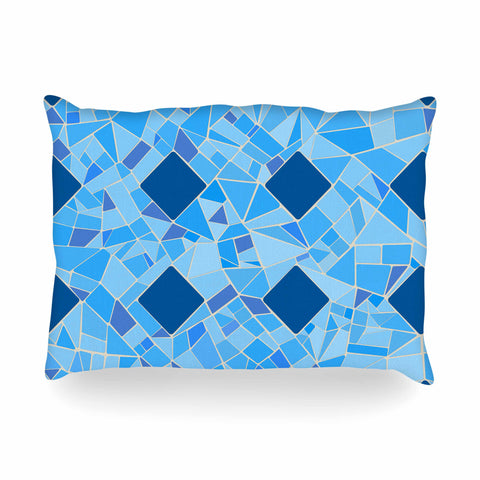 "Afe Images ""Abstract Mosaic Pattern2"" Blue Teal Digital Oblong Pillow"