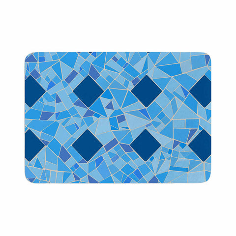 "Afe Images ""Abstract Mosaic Pattern2"" Blue Teal Digital Memory Foam Bath Mat"