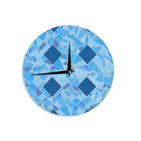 "Afe Images ""Abstract Mosaic Pattern2"" Blue Teal Digital Wall Clock"