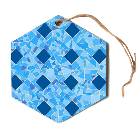 "afe images ""Abstract Mosaic Pattern2"" Blue Teal Abstract Pattern Digital Illustration Hexagon Holiday Ornament"