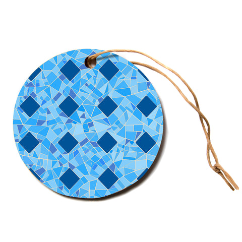 "afe images ""Abstract Mosaic Pattern2"" Blue Teal Abstract Pattern Digital Illustration Circle Holiday Ornament"