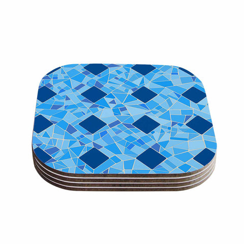 "Afe Images ""Abstract Mosaic Pattern2"" Blue Teal Digital Coasters (Set of 4)"