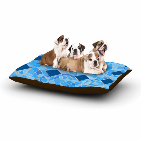 "Afe Images ""Abstract Mosaic Pattern2"" Blue Teal Digital Dog Bed"
