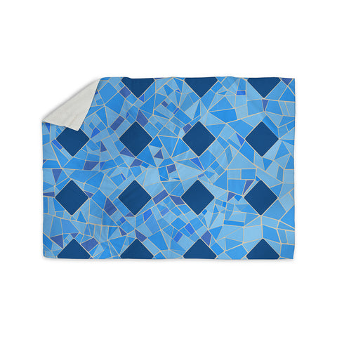 "Afe Images ""Abstract Mosaic Pattern2"" Blue Teal Digital Sherpa Blanket"