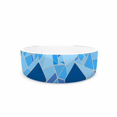 "Afe Images ""Abstract Mosaic Pattern2"" Blue Teal Digital Pet Bowl"