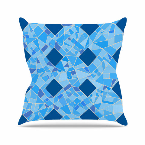"Afe Images ""Abstract Mosaic Pattern2"" Blue Teal Digital Outdoor Throw Pillow"
