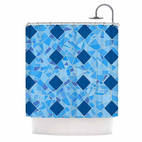 "Afe Images ""Abstract Mosaic Pattern2"" Blue Teal Digital Shower Curtain"