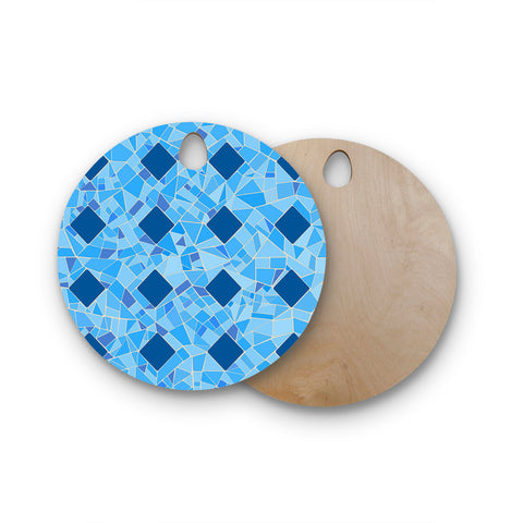 "Afe Images ""Abstract Mosaic Pattern2"" Blue Teal Digital Round Wooden Cutting Board"