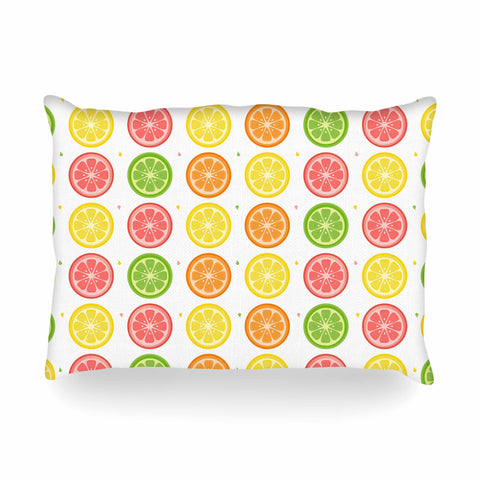 "Afe Images ""Citrus Pattern"" Multicolor Pink Illustration Oblong Pillow"