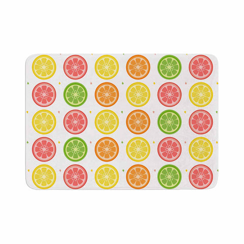 "Afe Images ""Citrus Pattern"" Multicolor Pink Illustration Memory Foam Bath Mat"