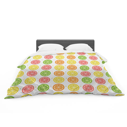 "Afe Images ""Citrus Pattern"" Multicolor Pink Illustration Featherweight Duvet Cover"