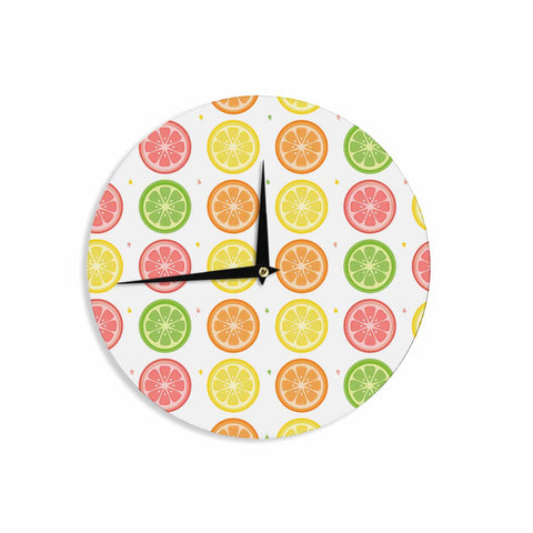 "Afe Images ""Citrus Pattern"" Multicolor Pink Illustration Wall Clock"