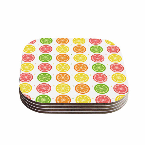 "Afe Images ""Citrus Pattern"" Multicolor Pink Illustration Coasters (Set of 4)"