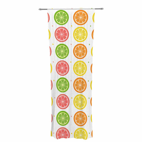 "Afe Images ""Citrus Pattern"" Multicolor Pink Illustration Decorative Sheer Curtain"