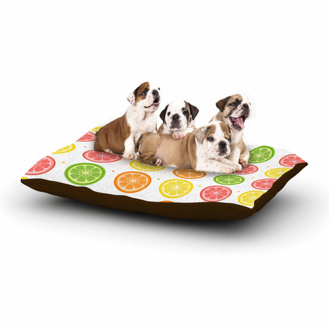 "Afe Images ""Citrus Pattern"" Multicolor Pink Illustration Dog Bed"