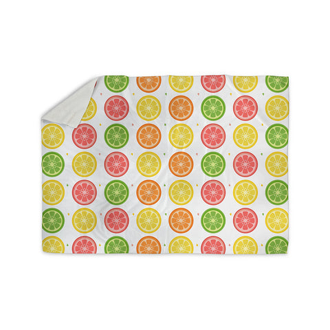 "Afe Images ""Citrus Pattern"" Multicolor Pink Illustration Sherpa Blanket"