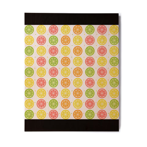 "Afe Images ""Citrus Pattern"" Multicolor Pink Illustration Birchwood Wall Art"