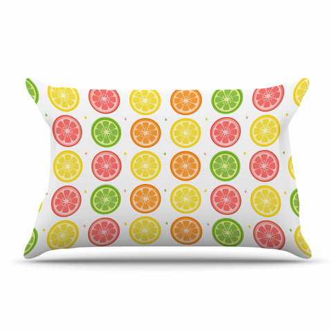 "Afe Images ""Citrus Pattern"" Multicolor Pink Illustration Pillow Sham"