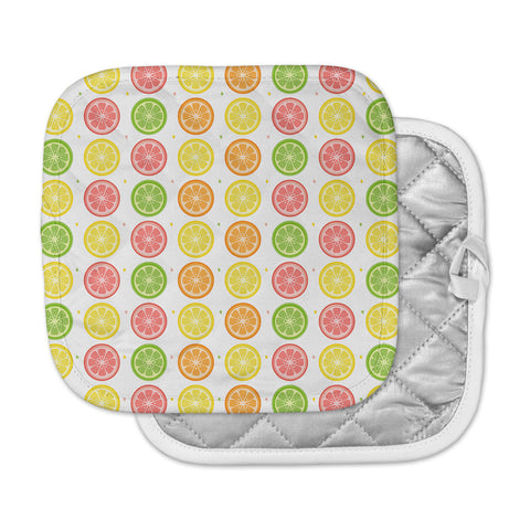 "Afe Images ""Citrus Pattern"" Multicolor Pink Illustration Pot Holder"